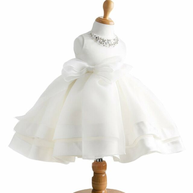 Baby Girl Dress Christening Baptism Gowns Sequined Formal White 0-6 ...
