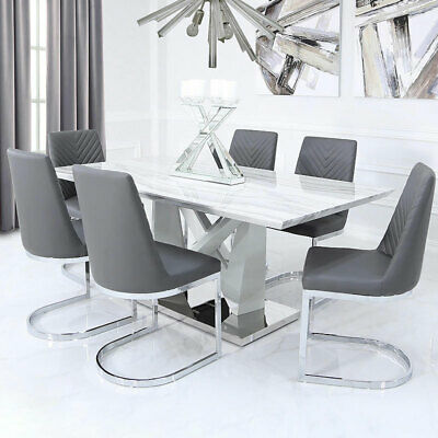Blanche Dining Room Set Marble Effect Kitchen Table Six 6 Chairs 180cm X 100cm Ebay