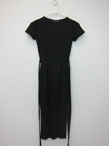 a4c4e6c9ee12 Boohoo Women's Eva Pleat Front Belted Tailored Midi Dress US 2 Black ...