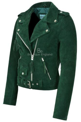 donna Giacca motociclista Mbf Brando pelle in con scamosciata stile Verde da in pelle qArwtaA