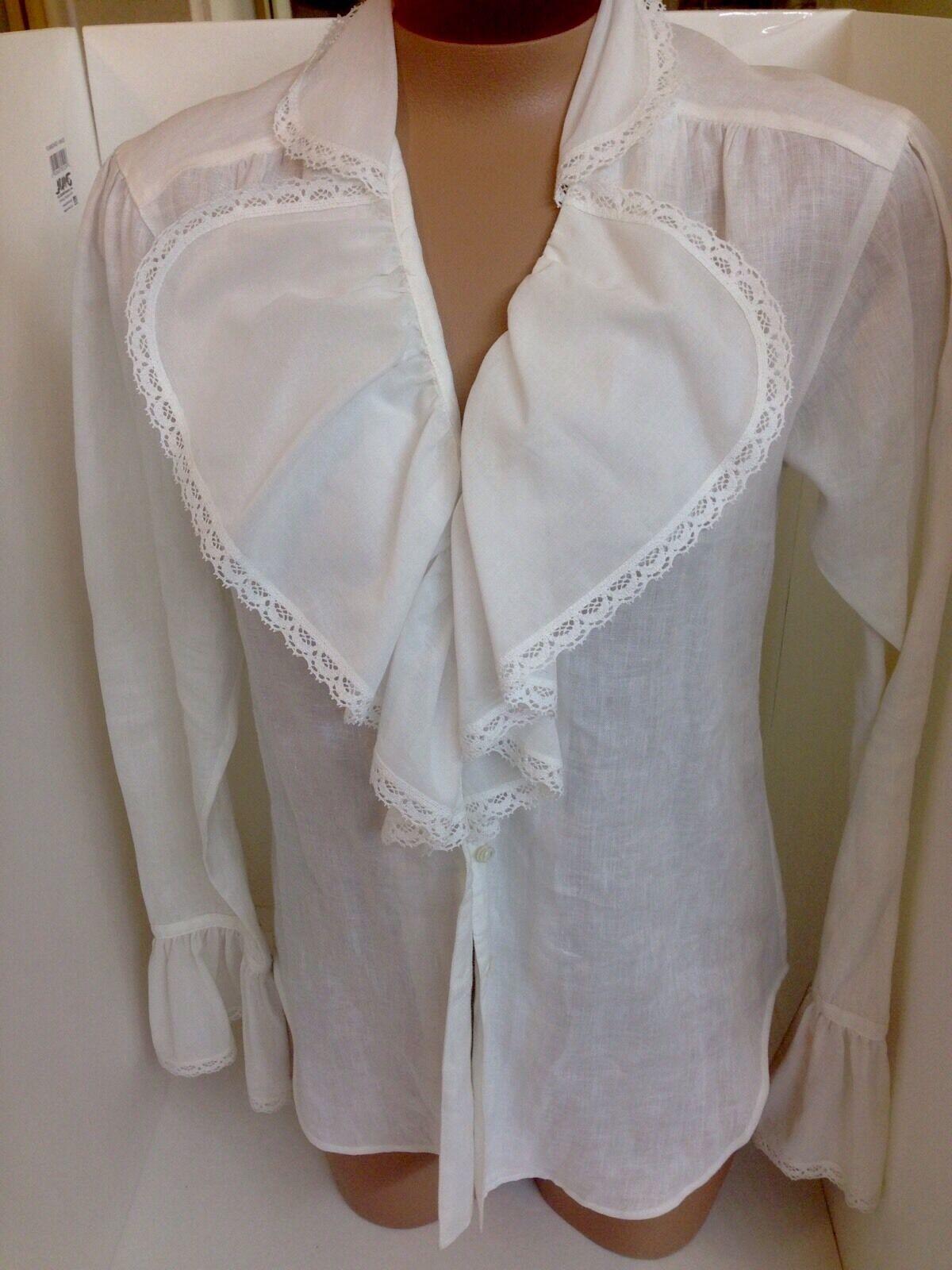 Ralph Lauren Shirt Weiß Linen Ruffle Front And Cuff Größe2 NWT