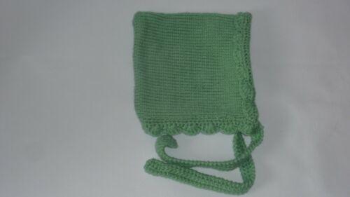 NEW LOVELY  Classic Baby Infant Green Knitted Crochet Bonnet Pixie Beanie