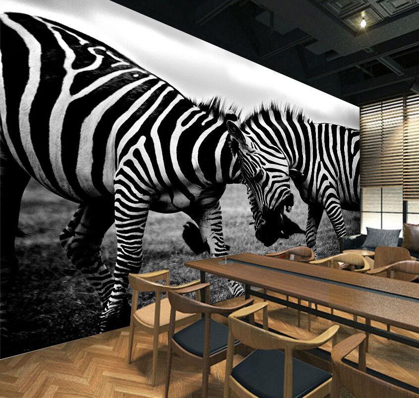 3D Pretty Two Zebras 7 Wall Paper Murals Wall Print Wall Wallpaper Mural AU Kyra