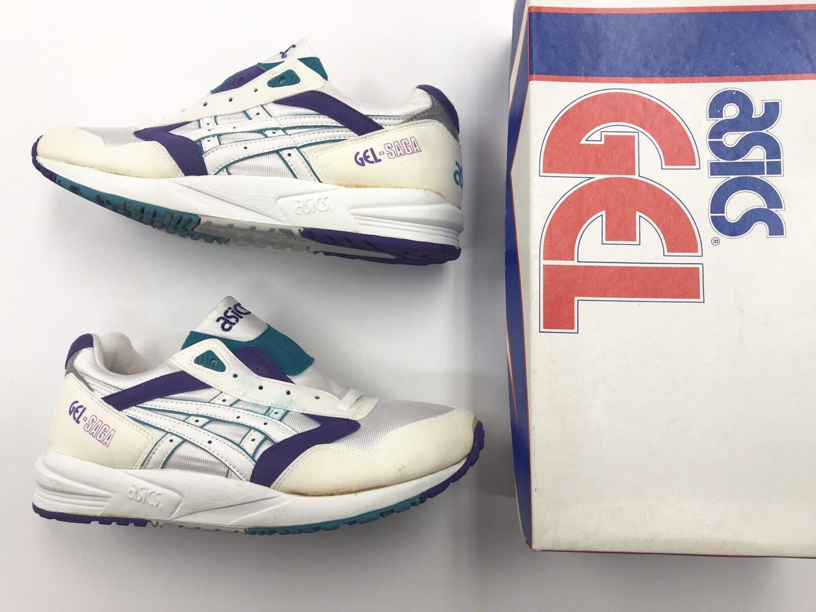 Vintage DS Asics Gel Saga White Teal Grape SZ 9 Men Running shoes