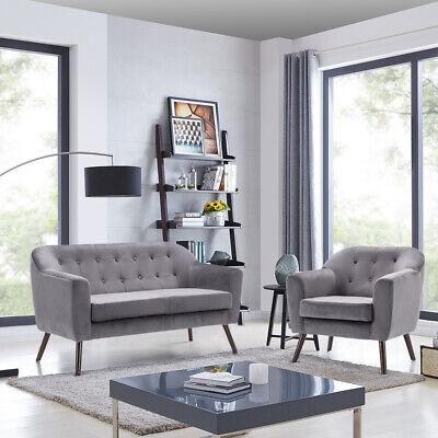 Luxury Grey Velvet Fabric 2 Seater Sofa Armchair Tub Sofa Chair Set Couch Settee | eBay
