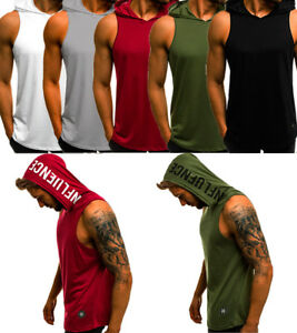 USA Summer Mens Sleeveless Hoodie Muscle GYM Sweatshirt Hoody Tops Sport Hoodies