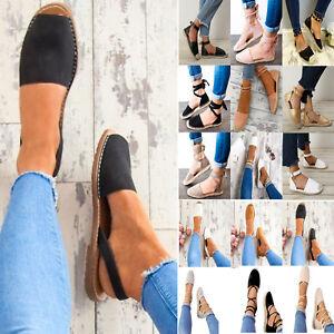 Damen-Flache-Sandalen-Sandaletten-Espadrilles-Gladiator-Strand-Freizeitschuhe