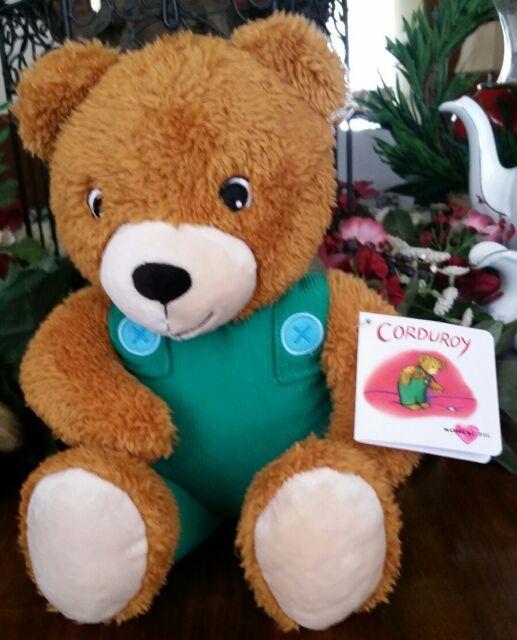 "Corduroy Bear plush stuffed animal 14"" iconic character green overalls toy New"