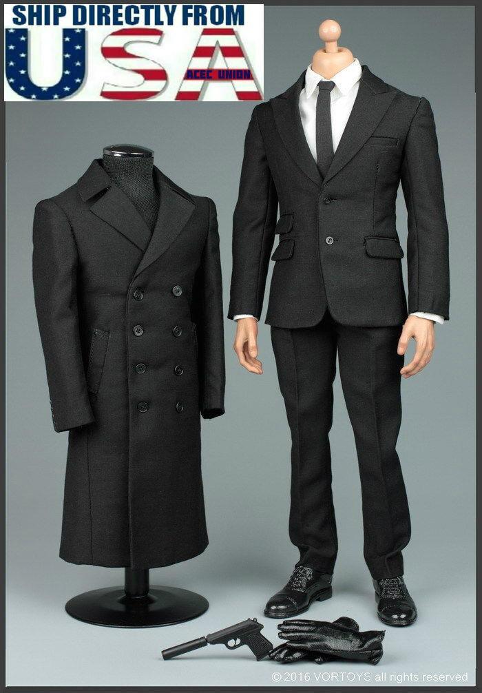 respuestas rápidas 1/6 James Bond 007 agente agente agente Traje Abrigo Set Para Hot Toys Phicen Macho Figura Usa  más orden