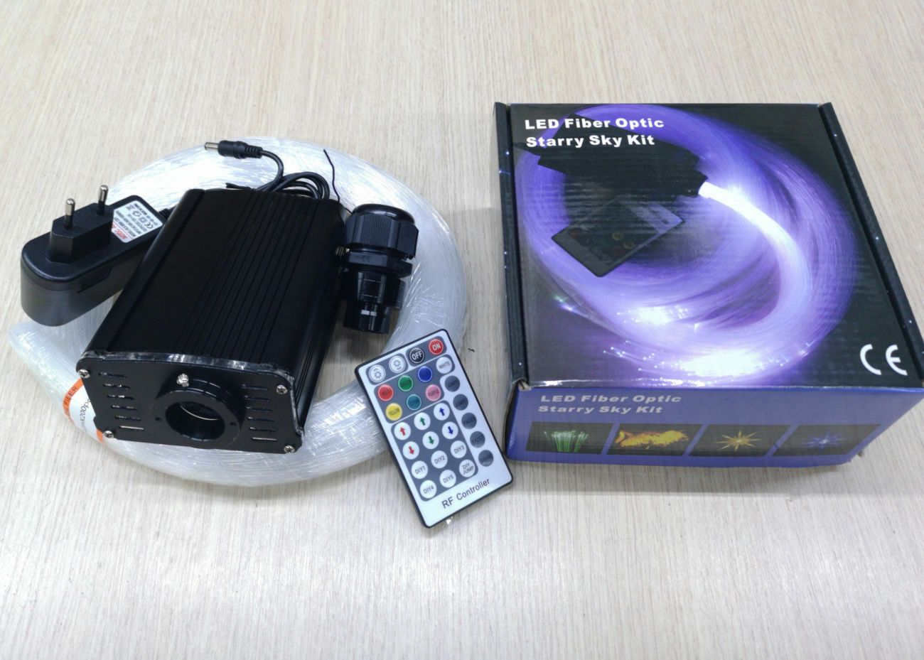 KIT FIBRA OTTICA CIELO STELLATO RGB E blanco LED 16W -200 PUNTI LUCE DA 1MM X 2MT