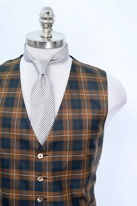 New-Men-039-s-Brioni-Italy-Brown-Navy-Plaid-100-Silk-Vest-Large-Free-Gift-Tie