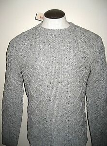 Levi-039-s-Mens-Fisherman-Cable-Crew-Neck-heavy-Wool-sweater-Grey-NWT-19480002