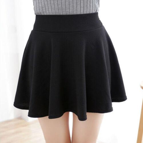 Womens Elastic Waist Skater Swing Skirt Stretchy Flare A-line Pleated Mini Dress