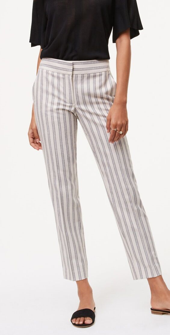 Ann Taylor LOFT Striped Relaxed Ankle Pants Size 0, 6, 8 NWT Tapioca Beige