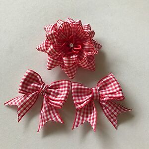 d7b807ea10cb red and white gingham school girls hair clip set flower loop and ...