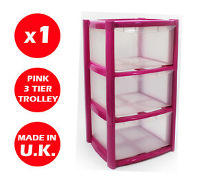 3-DRAWER-PLASTIC-STORAGE-DRAWER-CHEST-UNIT-TOWER-WHEELS-TOYS-PINK