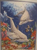 Playful Dolphins Sunset Stamped Cross Stitch Kit Made In Usa