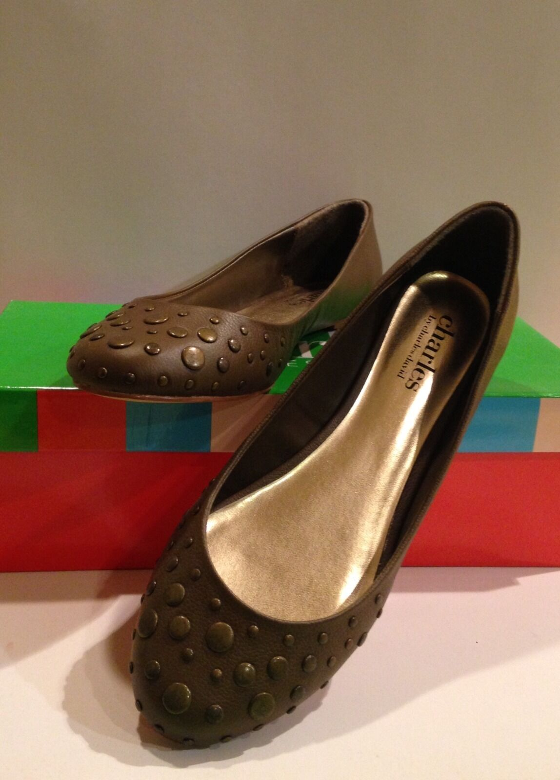 NIB pristine Charles David Studded Metallic Brown Pelle Ballet Flats shoes
