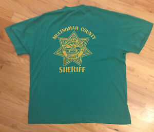 Vintage-Thin-Single-Stitch-Multnomah-Co-Sheriff-Portland-Oregon-T-Shirt-Sz-L