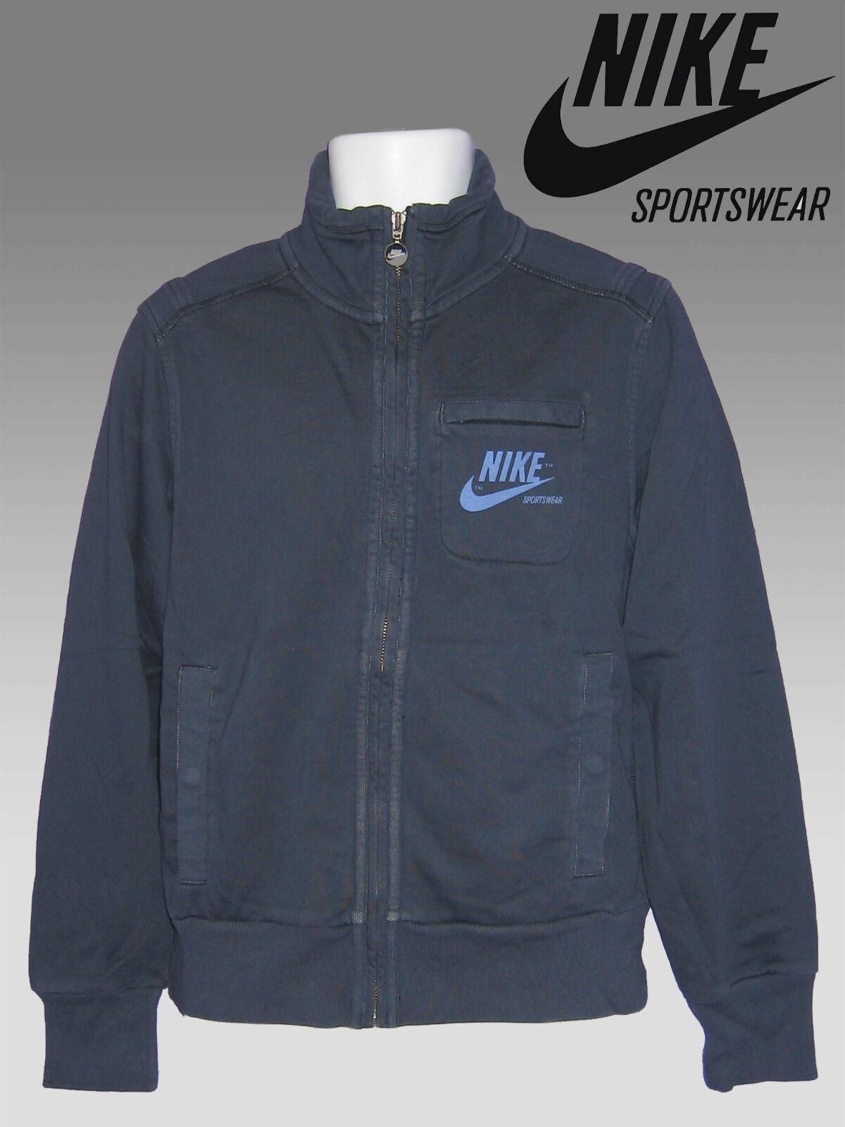 NEW NIKE Sportswear NSW Vintage Distressed Fleece Cotton Jacket Navy Blau M