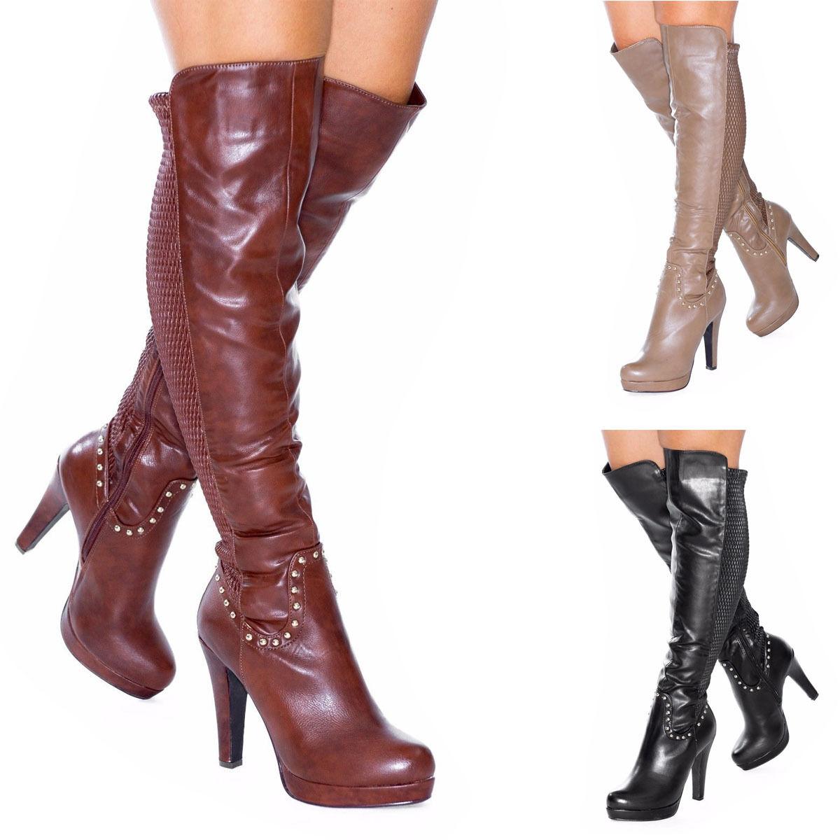 Women's Ladies Over The Knee High Studs Western Cowboy Stiletto Heel Boots Size