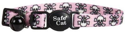 "COASTAL LIL PALS PINK SKULL CAT 6""-8"" BREAKAWAY KITTEN COLLAR. FREE SHIP TO USA"