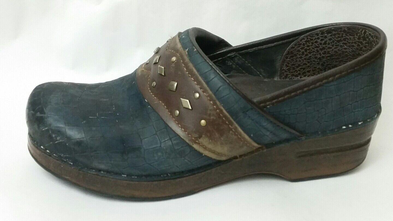 Dansko Dansko Dansko Azul Marino Zueco marrón de cuero mujer 8.5 -9 M EU 39 resbalón en el zapato de impresión de cocodrilo  entrega rápida