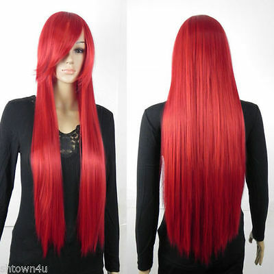 Heat Resistant Womens Long Straight w/ Bangs Cosplay Anime Wigs party hair USA