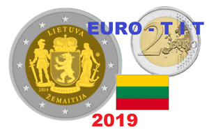2 € Lituanie 1 X Piece Commemorative Region Samogitie 2019 2019 100% D'Origine