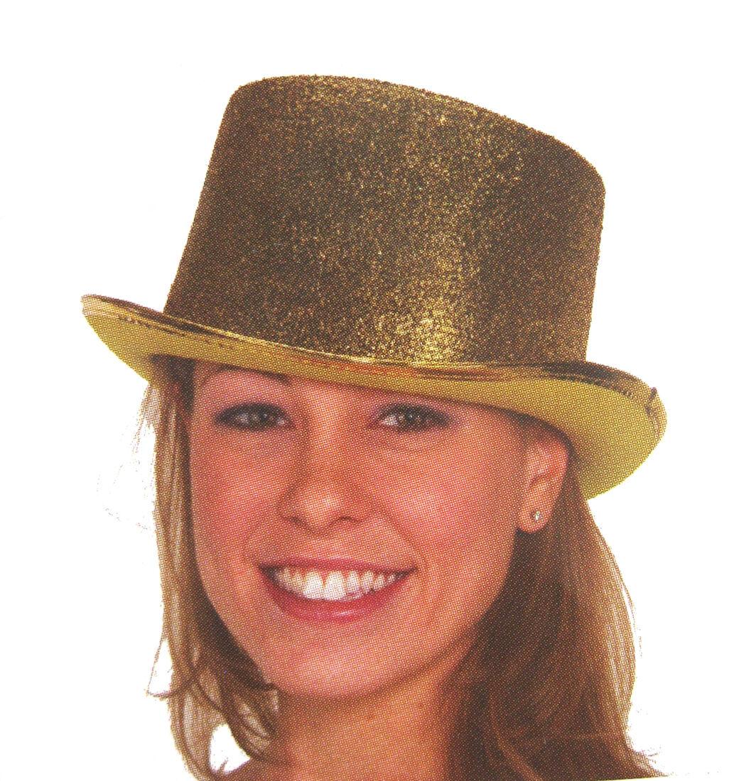 776386064e3228 Deluxe Gold Glitter Top Hat Columbia Cap Adult Halloween Costume Hat for  sale online