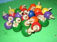 25 Lot Toy Wooden Flip Over Spinning Top 6b3