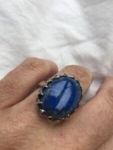 Vintage-Deep-Toned-Blue-Natural-Lapis-Lazuli-925-Sterling-Silver-Antique-Ring