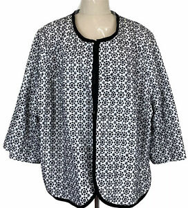 Sara Womens Black/White Floral Multiple Hook 3/4 Sleeve Lined Jacket Size 26
