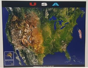 United States Of America Aerial Satellite Map Photo Poster Ebay