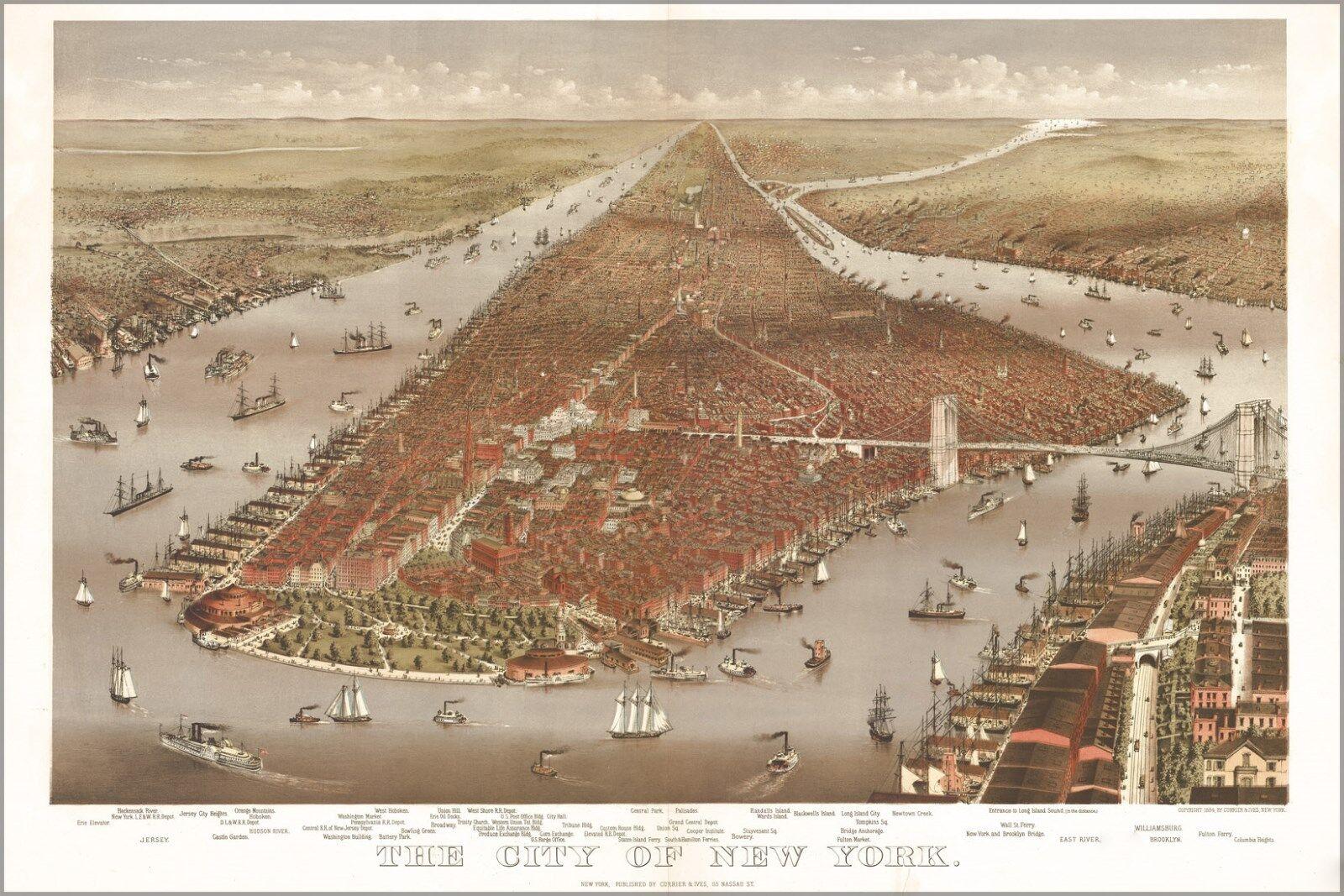 Poster, Molte Misure; Mappa Del Del Del City Of New York 1884 Currier & Ives a706b0