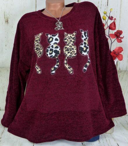 Designer Pullover Pulli Damen Shirt Tunika Strick Glitzer Katze Beere 44 46