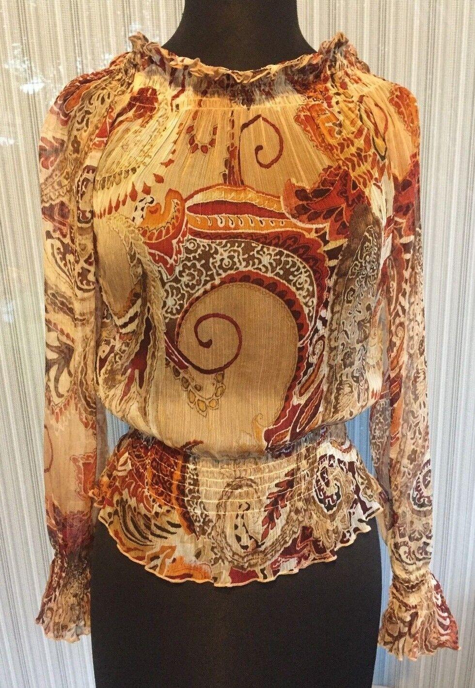 Cache Peasant Boho Sheer Illusion Top New Sz S M May Wear Off Shoulder  NWT