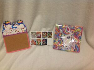 Vtg-1990s-Lisa-Frank-Lot-Magnetic-Terrific-Cork-Board-Unicorn-Stickers-Napkins