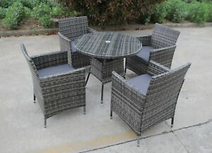 Bistro Garden Rattan Wicker Outdoor Dining Furniture Set Table