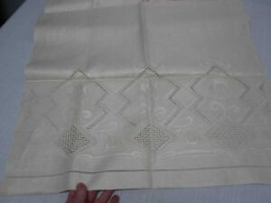 Antique Pure Linen Bath Towel With Cutwork Tulips 23 X 42 Not