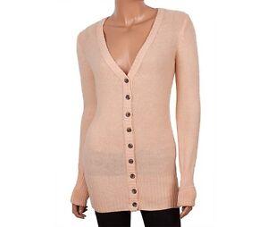 Ladies V Neck Button Down Peach Coloured Cardigan Knit Wear Women ...