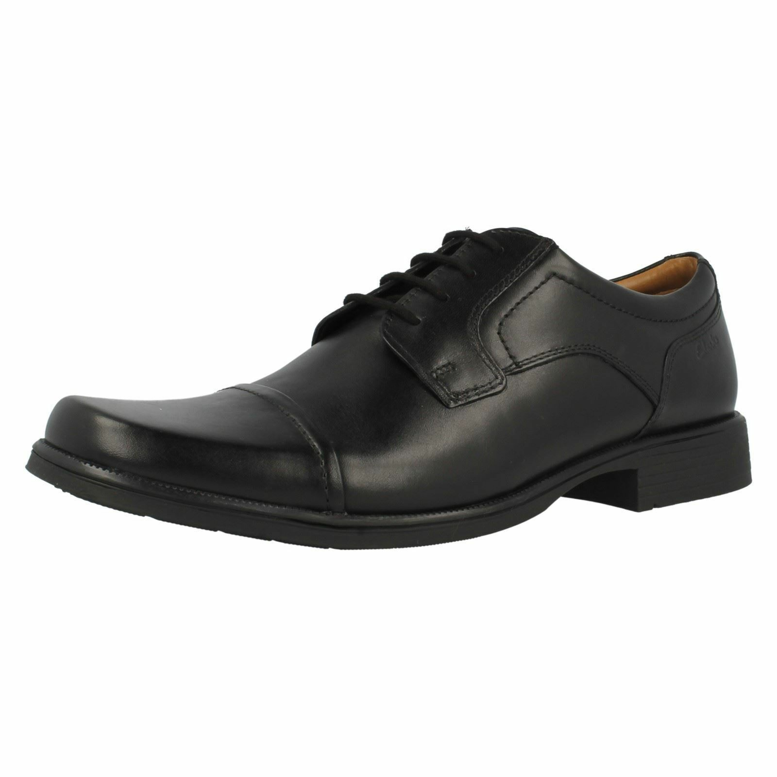Mens Black Leather Lace Up Clarks 'Huckley Cap'- Great Sale Price!