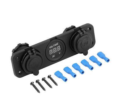 12V Dual Car Cigarette Lighter Socket USB Adapter Charge Charger Voltmeter+Screw