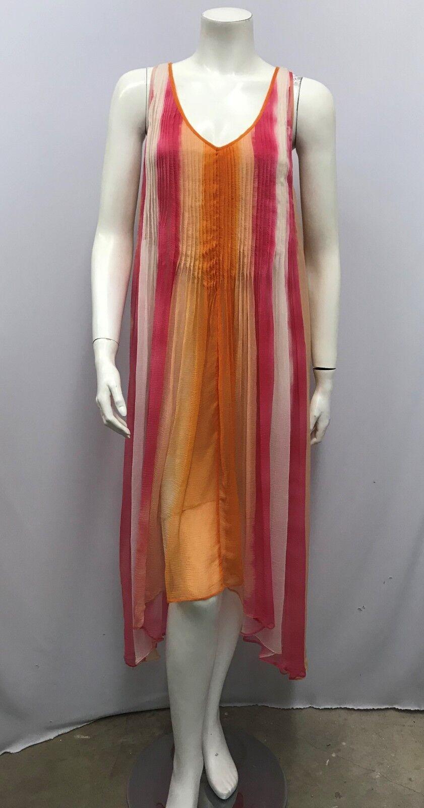 CALYPSO ST. BARTH DRESS Orange OFF Weiß Rosa WATERFarbe DESIGN FLOWEY PLEATS S