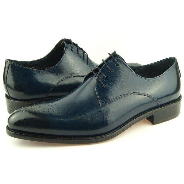 Carrucci Einfarbig Medaillon Derby, Herren Kleid Leder Oxford Schuhe, Marineblau