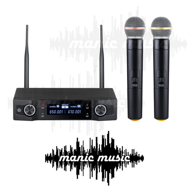 Dual Wireless Microphone System 2x Professional Cordless Mic Karaoke Vocal Stage