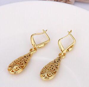 14k-Yellow-Gold-Plated-1-1-034-Medium-Polished-Teardrop-Dangle-Earrings