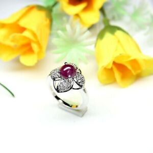 Natural Ruby Round Cabochon 925 Sterling Silver Women Flower Designer Ring