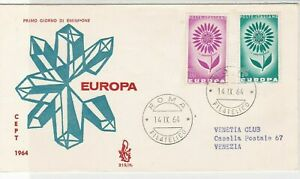 Italy 1964 Europa CEPT Crystals  Roma Cancel FDC Flower Stamps Cover ref 22428