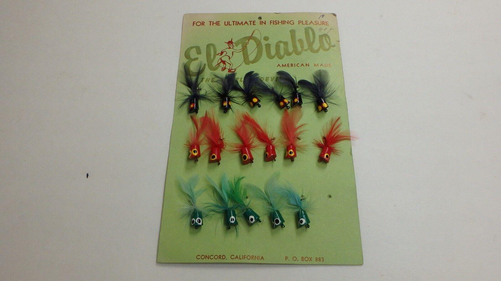 Vintage El Diablo Dealer Display voitured of 17 Flies Fly Rod Bait Fishing Assorted